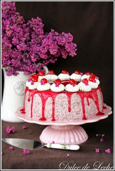 Cherry poppy seed cake (no flour) - Dulce de Leche Something Sweet, Celebration Cakes, Cheesecake, Food And Drink, Desserts, Decoration, Blog, Sweets, Dulce De Leche