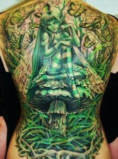 Fairy on mushroom whole back tattoo | tattoos I love | Pinterest