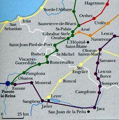 Pagina 5: Nuestra narración tiene lugar en las ciudad sagrada, Camino de Santiago. Las rutas del Camino en los Pirineos pueden estar visto en la foto. #CaminodeSantiago