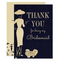 Vintage Fashion Thank You Bridesmaid Card - invitations personalize custom special event invitation idea style party card cards