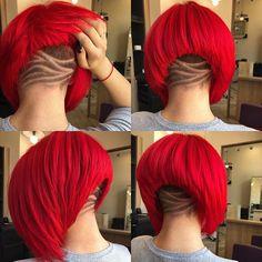 Bold and Beautiful Undercut Bob Haircuts 23 Bold and Beautiful Undercut Bob Haircuts Red Hair Undercut, Undercut Bob Haircut, Undercut Hairstyles, Pretty Hairstyles, Edgy Short Haircuts, Blunt Bob Hairstyles, Short Hair Cuts, Short Hair Styles, Red Bob Haircut