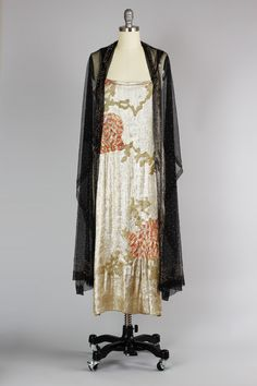 RARE 1920s Incredible Gold Silk Lamé Asian Evening Gown with Silk Net Shawl