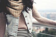 JennifHsieh Outfit | Denim Vest, Beige Sweater, Striped Skirt, Cream Infinity Scarf