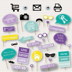 Housewarming Printable Photo Booth Props  Props for by SurpriseINC