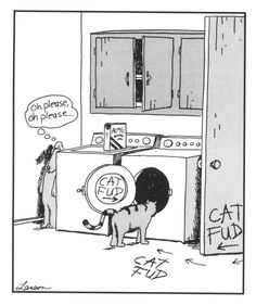 On of my favorite FAR SIDE cartoons.  I used to have it in color and hung it right above my cat and dog's food dishes.  ♥♥ LOVE IT ♥♥
