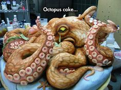 Funny pictures about Epic Octopus Cake. Oh, and cool pics about Epic Octopus Cake. Also, Epic Octopus Cake photos. Crazy Cakes, Fancy Cakes, Bolos Cake Boss, Pasteles Cake Boss, Cake Boss Cakes, Cake Icing, Cupcake Cakes, Dog Cakes, Brain Cupcakes