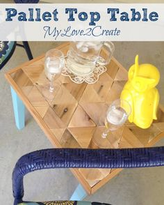 My Love 2 Create makes a great little table from an old bench using pallet wood scraps