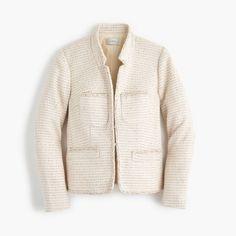 J.Crew Gift Guide: women's metallic tweed jacket with front pockets.