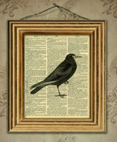 French dictionary vintage bird crow black bird art picture print