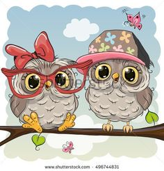 Greeting card with Two cute Cartoon Owls