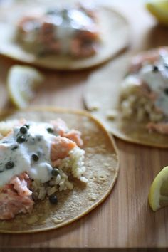 Salmon Tacos  with Caper-Dill Yogurt Sauce - - - > http://www.theroastedroot.net