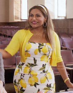 Mindy's lemon print dress on The Mindy Project.  Outfit Details: https://wornontv.net/57907/ #TheMindyProject