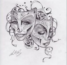 theater tattoo | feminine theater masks | Tattoo.com