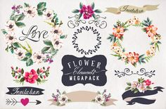 30%Off • Hand-drawn flower MEGAPACK by Graphic Box on @creativemarket
