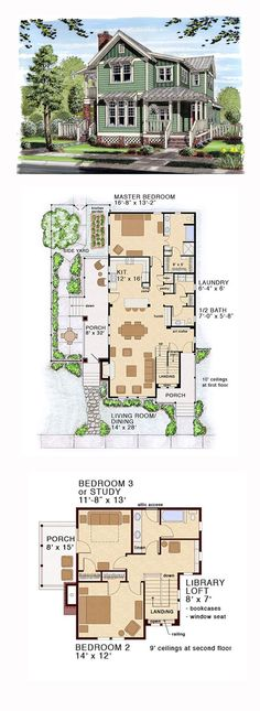 Bungalow Coastal Cottage Country Farmhouse Traditional House Plan 30501 with 3 Beds 3 Baths Coastal House Plans, Country House Plans, Coastal Cottage, Coastal Homes, Country Farmhouse, Farmhouse Layout, Farmhouse Small, Coastal Rugs, Coastal Bedding