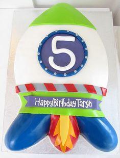 Rocketship theme birthday cake for 5 year old.JPG