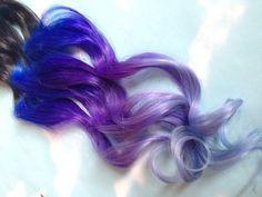 Purple and Blue Hair Clip Extensions Blue Ombre Hair Purple Ombre Hair Weave Human Hair Full Set Bundle Lavender Hippie Hair Dread Ombre Hair Weave, Blue Ombre Hair, Lilac Hair, Pastel Hair, Pastel Goth, Purple Extensions, Clip In Hair Extensions, Weave Hairstyles, Cool Hairstyles