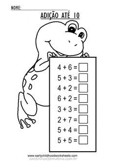 Addition worksheets for early childhood education, preschool, kindergarten kids: add the numbers up to and write the correct answer in the box. Math Addition Worksheets, Kindergarten Math Worksheets, Preschool Printables, Preschool Math, Math Classroom, Kindergarten Addition, 1st Grade Math, Grade 2, Math Facts
