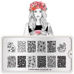 Flower Power Plate Collection - Your favourite nail art image plates. All designs engraved on Stainless steel Nail art stencils. MoYou-London an award winning nail art brand. Moyou Stamping, Nail Art Stamping Plates, Nail Plate, Flower Power, Nail Art Designs, Floral Designs, Nail Stamper, London Nails, Nail Art Images