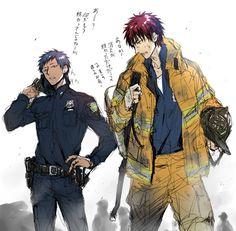 Aomine  Kagami oh god hahaha fireman and policeman :O--------------