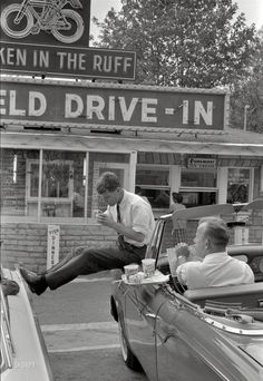 "John F Kennedy's"" (1960) Democratic presidential nomination Campaign in Bluefield, West Virginia. Robert Kennedy"" takes a break while campaigning for his brother. Photo by Bob Lerner for Look magazine article ...."