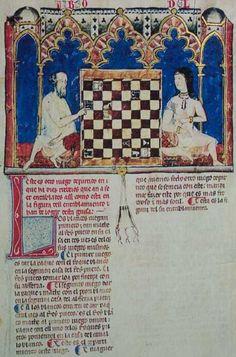 Moorish Girl and a man playing chess--13th century manuscript