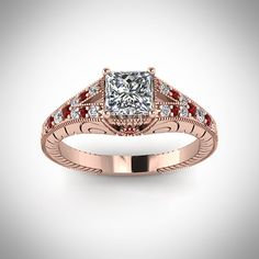 Tri Milgrain Ring || Princess Cut Diamond Milgrain Rings With Red Ruby In 14K Rose Gold