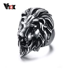 Vnox Men's Lion Rings Stainless Steel Rock Punk Rings for Men Jewelry