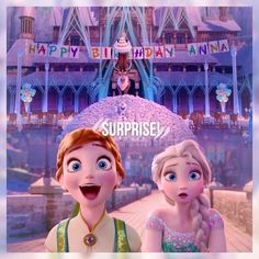 Frozen Fever, and strangely enough in this shot of Anna and Elsa, I don't think Elsa looks like Elsa. Her face and head are shaped weird. Anna still kinda looks like Anna, but her mouth is REALLY stretched out, but eh.