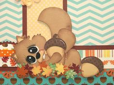 Nutz about Fall - 2 Premade Scrapbook Pages PAPER PIECING for Album