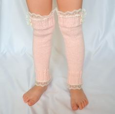 Blush pink hand knit little girl lace leg warmers knit by bstyle, $22.00