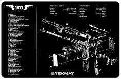 NEW ! M1911A1 Armorers Gun Cleaning Bench Mat Exploded View Schematic 1911  #TekMat