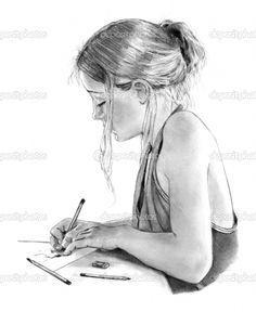 girl drawings | Pencil Drawing of Girl Writing, Drawing | Stock Photo © Joyce ...