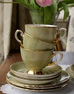 Gorgeous, Gorgeous! Tuscan green and gold vintage china tea cup trio