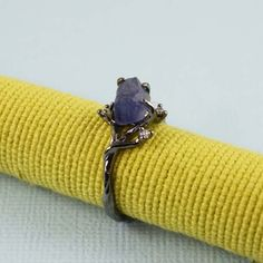 Black Rough Blue Sapphire Ring - gemstone ring, tooriginal | tooriginal - Jewelry on ArtFire