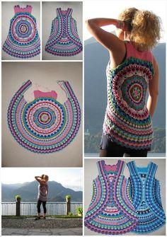 Crochet Flowers Patterns Crochet Flower Power Circle Vest - 12 Free Crochet Patterns for Circular Vest Jacket Crochet Circle Vest, Crochet Vest Pattern, Crochet Circles, Crochet Motifs, Crochet Flower Patterns, Crochet Patterns For Beginners, Crochet Patterns Amigurumi, Crochet Stitches, Knitting Patterns