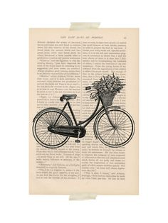 dictionary art vintage Bicycle with Basket of by ExLibrisJournals,