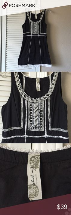 """Free People embroidered dress Adorable black cotton dress with white embroidery detailing. 16"""" from armpit to armpit, 31"""" long. Good condition Free People Dresses Mini"""