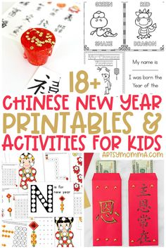 Celebrate Chinese New Year with these printable activities for kids including crafts and learning ideas! Chinese New Year Kids, Chinese New Year Activities, New Years Activities, Creative Activities For Kids, Printable Activities For Kids, Kids Learning Activities, Party Activities, Worksheets For Kids, Writing Activities