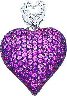 14k White Gold purple sapphire Diamond pendant