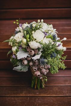 white, purple and green bouquet with roses, freesia, thistle and seed pods. Melbourne Wedding from Pomp and Splendour Floral Wedding, Wedding Bouquets, Rustic Wedding, Our Wedding, Wedding Flowers, Wedding Stuff, Flower Bouquets, Pretty Flowers, Colorful Flowers