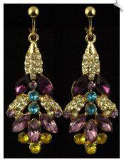 Rhinestone Glamour - Fashion (SKU: SOL5503) Purple, Aqua Blue, Yellow & Clear Rhinestone Dangle Clip On Earrings Accented with Goldtones ( 2.75 in ) @ www.himzgirlclipearrings.com