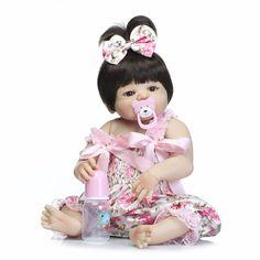 55 cm de Corpo Inteiro de Silicone Brinquedos Bebê Lifelike Renascer Baby Girl Doll-Boneca Reborn bebe Presente de Natal de Aniversário da Criança bonecas reborn