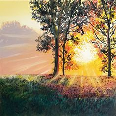 Sundown by Ellisa Hague Easy Magic, Learn To Paint, Drawing Techniques, Online Gallery, Beautiful Paintings, Painting & Drawing, Country Roads, Sunset, Landscape