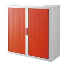 Paperflow easyOffice Storage Cabinet, 41 inch Tall with Two Shelves, White and Red