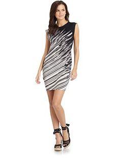 BCBGMAXAZRIA - Rubie Asymmetric Printed Sheath Dress/Black Multi - Saks.com