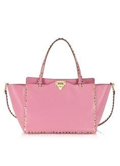 Valentino Rockstud Medium Ninphea Pink Leather Tote