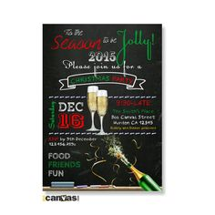 Christmas Party Dinner Invitation. Christmas Invitations. Christmas Party Invitation. Christmas Champagne Invites. Chalkboard Christmas 20 by 800Canvas on Etsy
