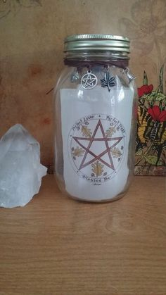 Witch Jar Pentacle Pentagram 365 Jar Wishing Gratitude Blessing Mason Moon Jars  #MoonJars #Novelty