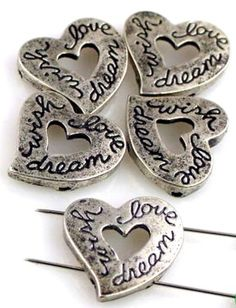 5 heart 2 hole slider beads 10679 - Mobile Boutique